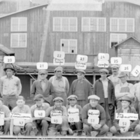 Mill crew in front of mill building, Jackson and Tindle Co., Pellston, Michigan